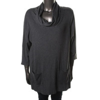 INC Womens Plus Ribbed Knit 3/4 Sleeves Pullover Sweater