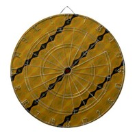 Gold Black and Olive Striped Modern Abstract Dartboard With Darts