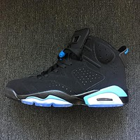 Nike Air Jordan Retro 6 UNC Black/University Blue Men Sneakers Women Sports Shoes 384664-006