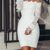 Ellie Mae Lace Off-the-Shoulder Party Dress