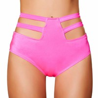 Pink High-Waisted Strapped Booty Shorts