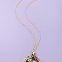 Long Elephant Looking Glass Pendant Necklace - Gold or Silver