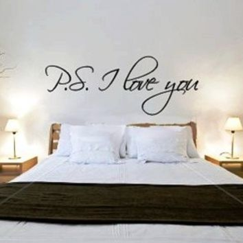 """~Romantic Gift ~ """"P.S. I Love You"""" Wall Art Decor Sticker -Tied w/Bow By JalieCo"""