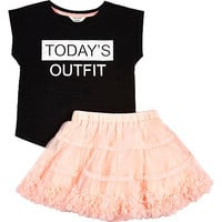 River Island Mini girls pink tutu and t-shirt outfit