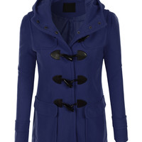 LE3NO Womens Classic Fully Lined Toggle Duffle Pea Coat with Hoodie (CLEARANCE)