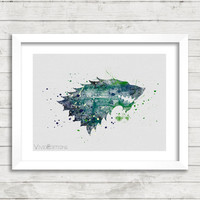 Stark House Crest, Game of Thrones Watercolor Poster Art Print, Boys Nursery Room Decor, Kids Decor, Not Framed, Buy 2 Get 1 Free! [No. 4-1]