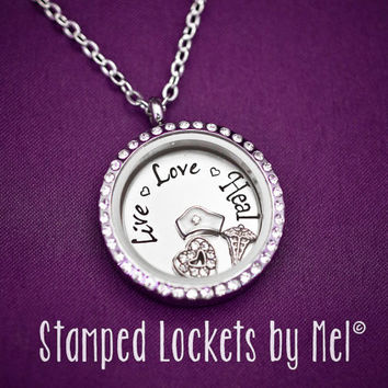 Live Love Heal - Hand Stamped Stainless Locket - RN Nurse Memory Necklace - Nursing Jewelry - Medical Pendant - Gift for Nurses