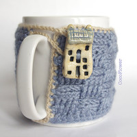 Cozy Mug Coffee, Mug Warmer, Grey color, House Artisanal Ceramic button, sweater Tea Sleeve Cover Crochet Wool -  French country home decor