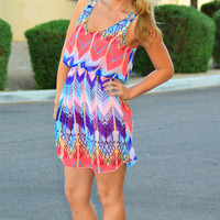 THE SPOTLIGHT CHEVRON CHIFFON DRESS