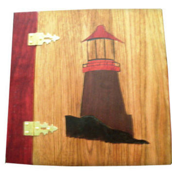 Lighthouse Wood Scrapbook Album - Photo Album Inlayed