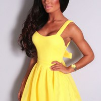 Solaire Yellow Mesh Bow Back Skater Dress | Pink Boutique