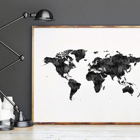 PRINTABLE Art,WORLD MAP,Watercolor Painting,Watercolor print,Digital Print,Map Of The World,Office Decor,Home Decor,Apartment Decor,Instant