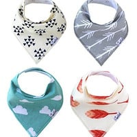 """Baby Bandana Drool Bibs for Drooling and Teething 4 Pack Gift Set For Boys and Girls """"Aztec Set"""" by Copper Pearl"""