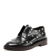 Balenciaga Studded Wing-Tip Derby Loafers Shoes, Bleu Obscur 38.5
