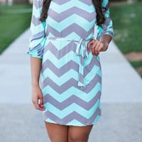 Grey Green Zigzag Print Half Sleeve Mini Bodycon Dress