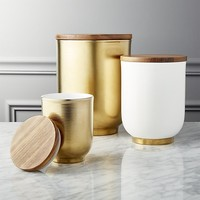 echo white and gold canisters