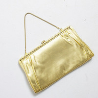 Vintage 1960s Purse - Gold Leather Fabric Metal Frame Chain Cocktail Clutch Bag