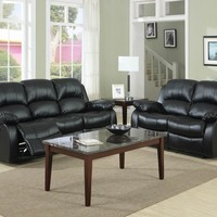 A.M.B. Furniture & Design :: Living room furniture :: Sofas and Sets :: Motion sofa sets :: 2 pc Cranley collection black bonded leather match upholstered double reclining sofa and love seat set