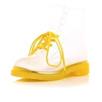 Bright yellow clear plastic lace up rubber boots - ankle boots - shoes / boots - women