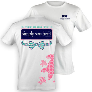 NEW Simply Southern PRP Preppy Sea Turtle Anchor Bow Girlie Bright T Shirt