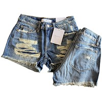 Hazel Light Wash- KanCan Mid Rise Shorts