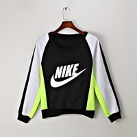 """""""NIKE"""" Fashion Mixed Colors Hit Color shirt Letter Print Round Neck Top Sweater Pullover Sweatshirt"""