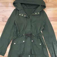 Olive Green Hooded Utility Parka Jacket