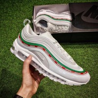 Best Online Sale Undefeated x Nike Air Max 97 OG Sail Retro UNDEFEATED Sport Shoes White Green Red Running Shoes - AJ1986-100