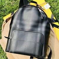 Burberry New Fashion Stripe Print Leather Backpack Book Bag Handbag Black
