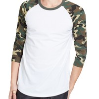 Mens 3/4 Sleeve Raglan Crew Neck T shirt