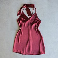 Final Sale - Reverse - Choker Slip Dress in Maroon