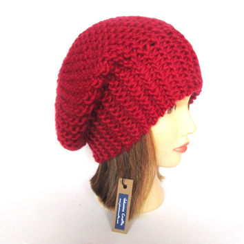 Beret hat Slouchy beanie hat red slouch hat chunky knit hat Irish knit accessory for women warm winter hat st valentines day gift for her