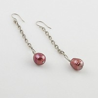 Pearl & Chain Sterling Silver Earrings