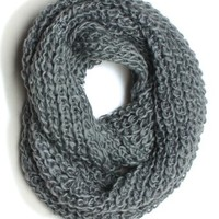"DRY77 Forever Scarf Thick Knitted Solid Infinity Loop Scarf, Light Grey, 16"" x 48"""