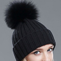 Hot Fashion Winter Women Real Silver Fox Fur Ball Hats Winter with Real Raccoon Fur Hats Knitted Beanie Pom Pom Hat Black