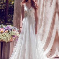 [188.99] Chic Tulle & Satin V-Neck A-Line Wedding Dresses With Beaded Lace Appliques - dressilyme.com