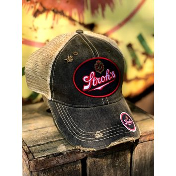 Stroh's Beer Vintage Logo Patch Hat - Distressed Black Snapback Angry Minnow Vintage