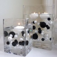 Amazon.com: Unique Elegant Vase Fillers - 34 Oversize Black Pearl Beads and White Pearl Beads - Wholesale......the Transparent Water Gels That Are Floating the Pearl Beads in Some of the Images Are Sold Separately.....: Home & Kitchen