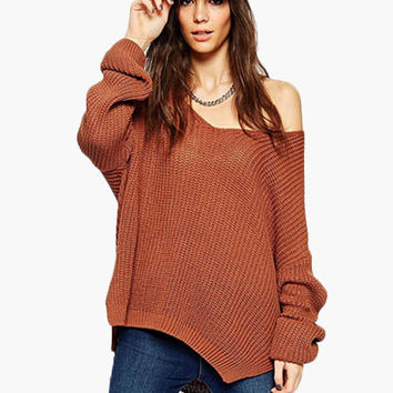 V-Neck Knitted Sweater with Slit