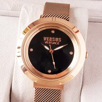 Versace tide brand women's simple personality quartz watch Black