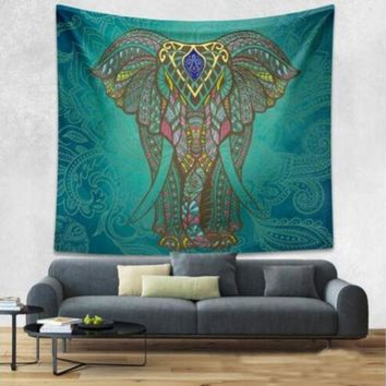 CREYU3C Elephant Bohemian Tapestry Colored Printed Decorative Mandala Tapestry Indian 130cmx150cm Boho Wall Carpet