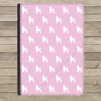 """Pink French Poodle PU Leather Flip Standing Universal Tablet Case Cover Kindle Fire HD 7"""" iPad 2 / 3 / 4 Samsung Galaxy Tab Google Nexus"""
