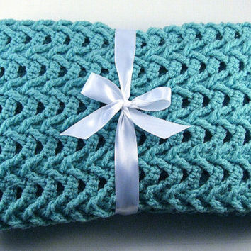 Made to order, you pick colors, Hand Crochet Cascade Car Seat Baby Afghan, Crochet Baby Blanket,