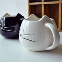 coffee mug Black And White Cat Animal , Ceramic blank and White . great way to open you morning , or great gift to our friend