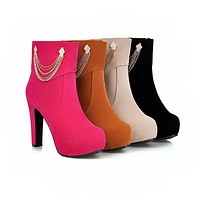 Rhinestone Ankle Boots High Heels Women Shoes Fall Winter 8947