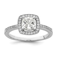 Sterling Silver CZ Brilliant Embers Cushion Cut Halo Ring