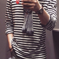 Play Casual Fashion Long Sleeve Pullover Stripe Round Neck Sweater