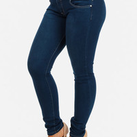 Blue Rhinestone-Button Butt Lifting Stretchy Skinny Jeans