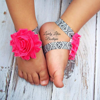 Baby Barefoot Sandals .. Hot Pink Aztec .. Toddler Sandals .. Newborn Sandals .. Baby Flower Sandals