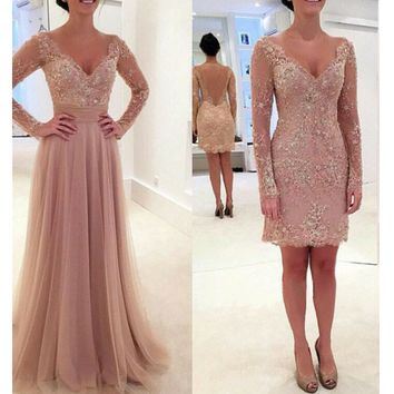 Lace Prom Dresses Long Sleeves V Neckline Detachable Tulle Skirt pst0037